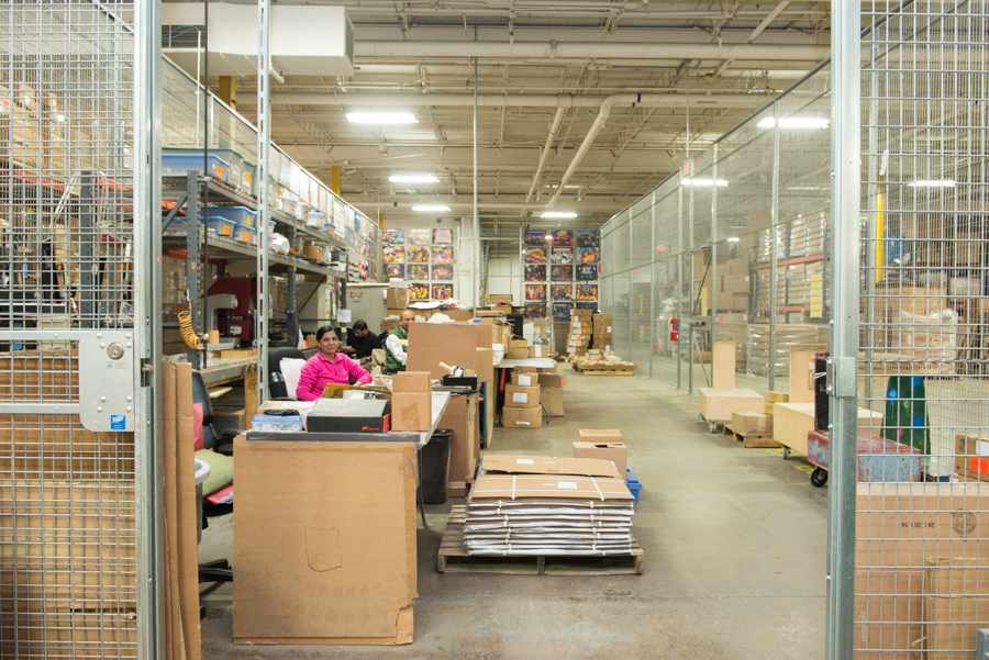 Inside the customizations area of Stern Pinball factory
