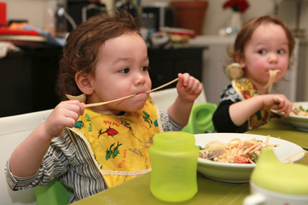 Oliver and Annabelle share mom and dad's affinity for linguine with lobster tail in cream sauce.