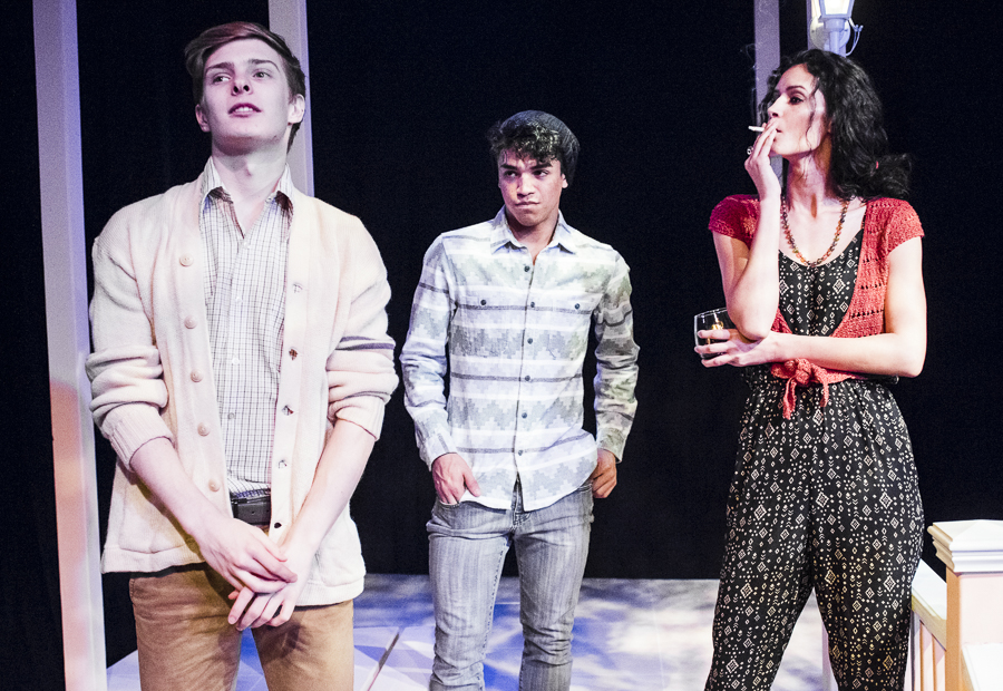 Julian Larach, Johnathan Nieves, and Jaslene Gonzalez in Raven Theatre's <i>Sycamore</i>