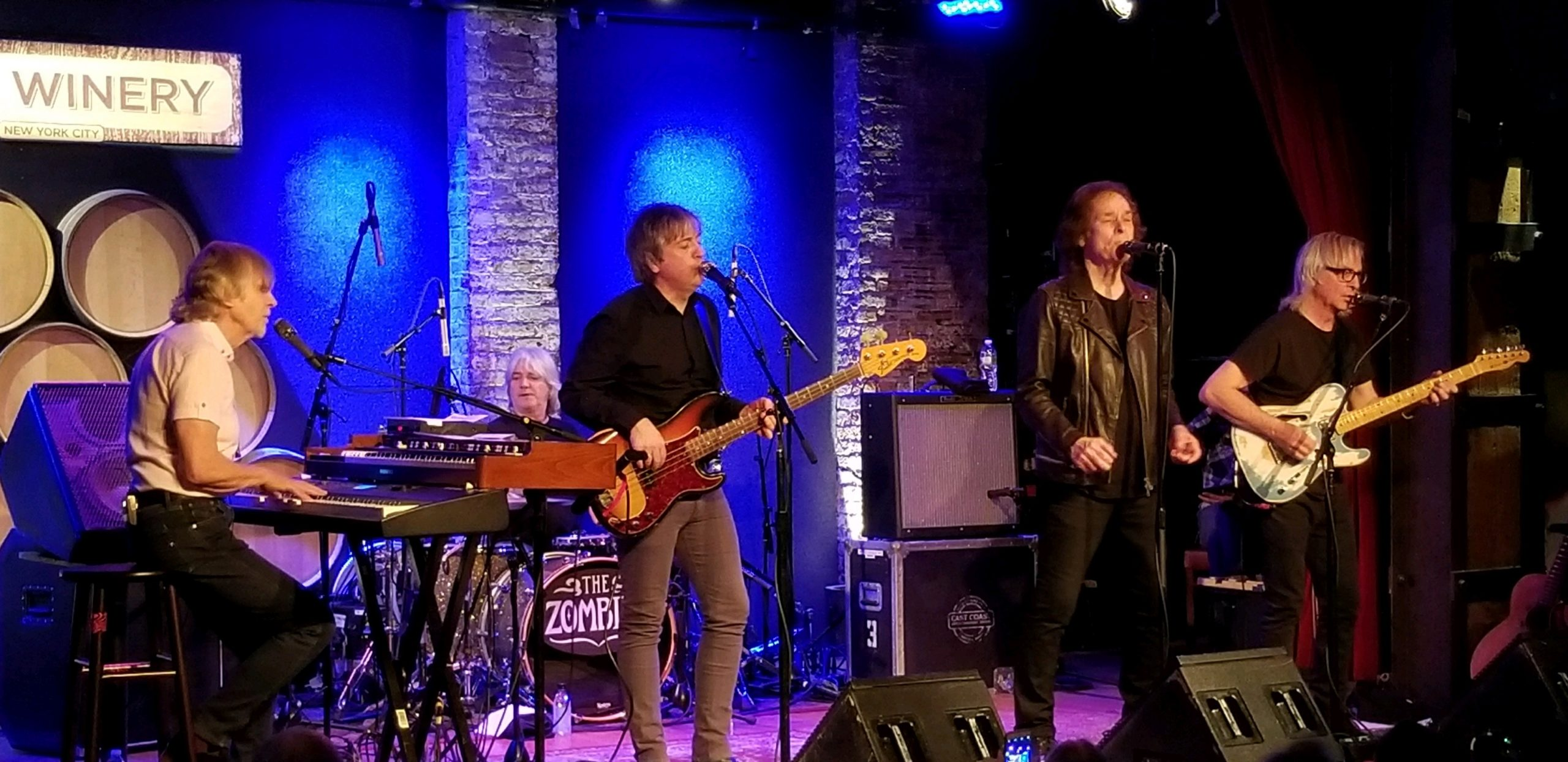 The current Zombies lineup, left to right: Rod Argent, Steve Rodford, Soren Koch, Colin Blunstone, and Tom Toomey