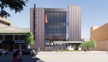 HGA design rendering showing future street exterior view of TimeLine's new Uptown home