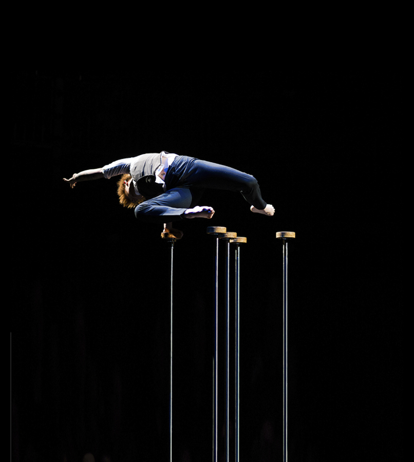 Circus artist Emma Serjeant performs in <i>Trashed</i>.