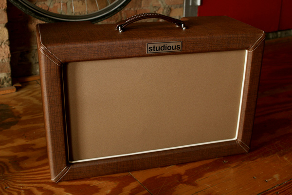 A Studious Amplifiers two-by-ten combo with vinyl exterior