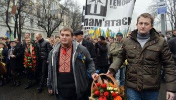 Marchers in Kiev on November 23 commemorate the victims of the Stalin-era Holodomor famine in Ukraine.