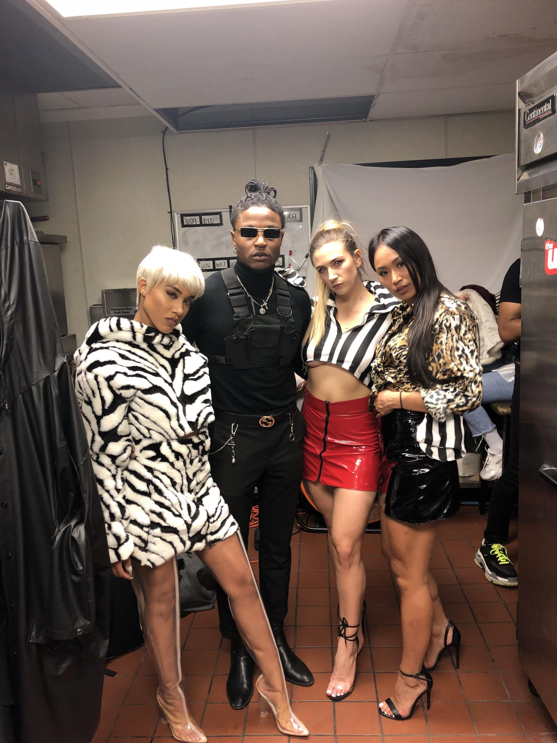 Elijah Runako and three of his models after the show