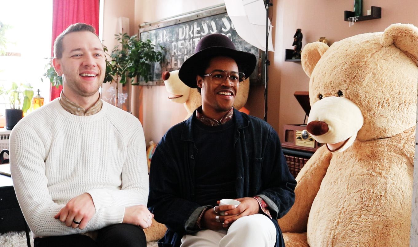 VAM cofounder Jordan Phelps, artistic director Vincent Martell, and a teddy bear that is part of an upcoming dinner and dance party