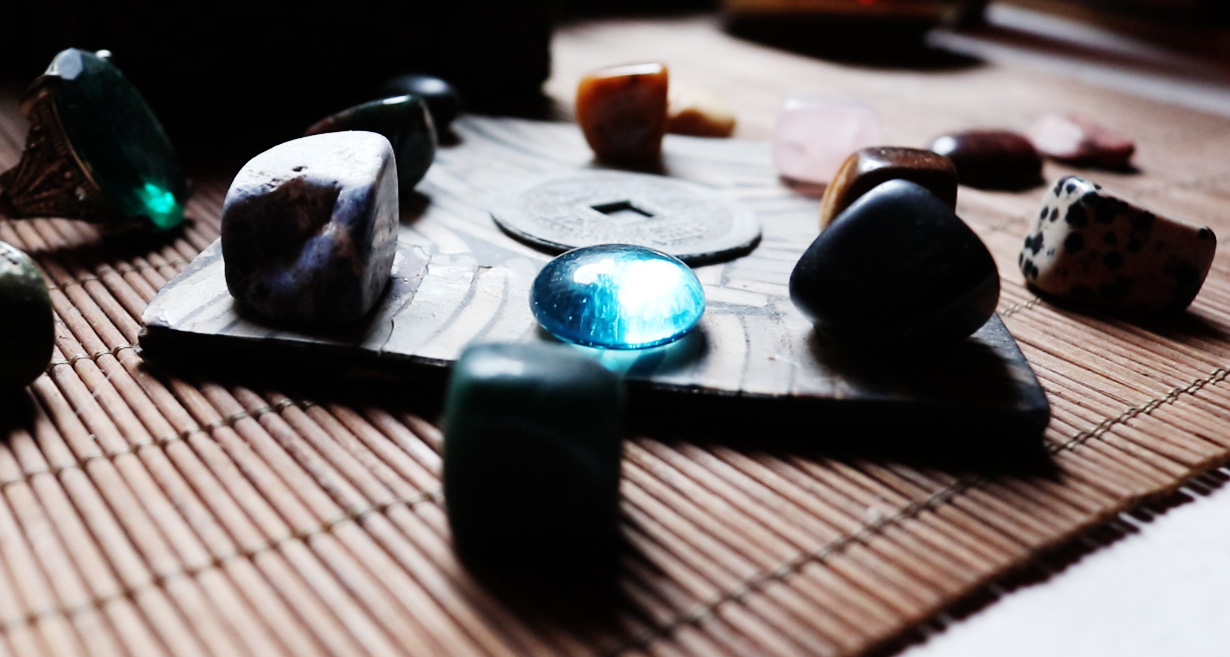 """Polished stones and other objects in the """"Zen room"""""""