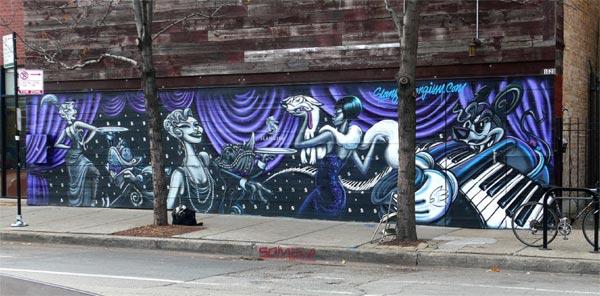 "Tyrue ""Slang"" Jones's mural for the Violet Hour, in process"