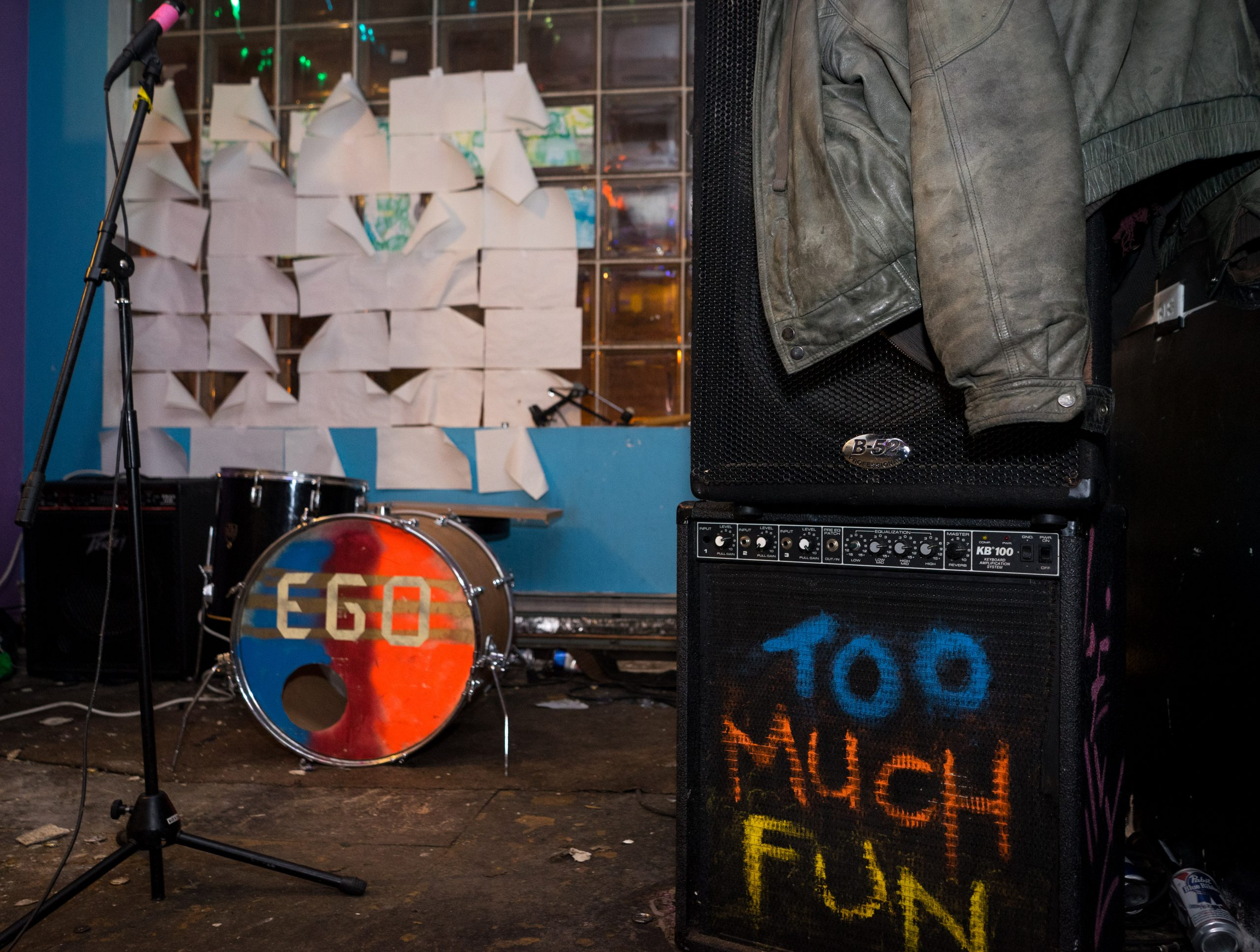 Ego's gear waits for the band's set on the final night of Wally's World.