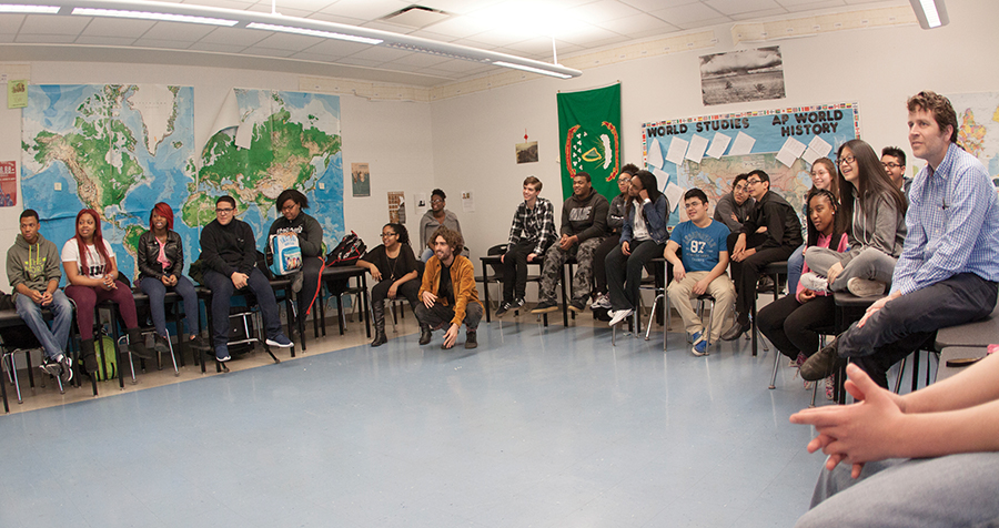 Stein teachs an EPIC SPARK class as part of the history of democracy unit of a world studies class at Westinghouse.