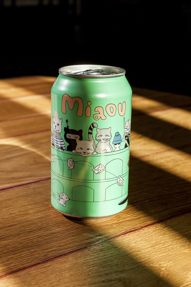 The Miaou, a Belgian-style dry-hopped wheat aged in cabernet barrels and fermented with brettanomyces, starts out grassy, earthy, and dry but develops a subtle sweetness and wine flavor as it warms up.
