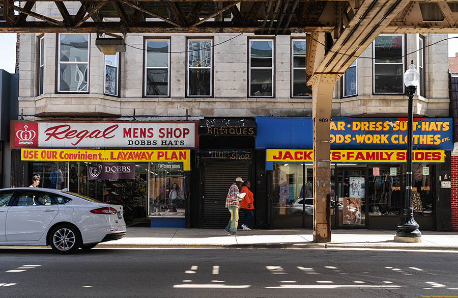 Longtime Woodlawn businesses seen along 63rd Street, just east of Cottage Grove Avenue