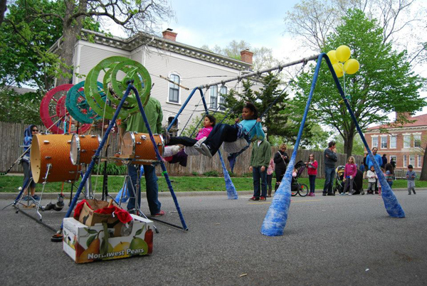 Artist Dave Ford's Swing Set Drum Kit is a hit at street fests and block parties.