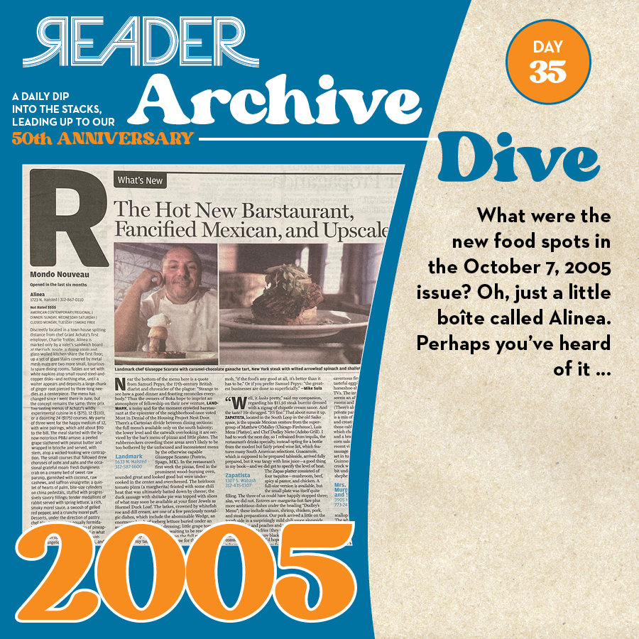 2005: What were the new food spots in the October 7, 2005 issue? Oh, just a little boîte called Alinea. Perhaps you've heard of it …