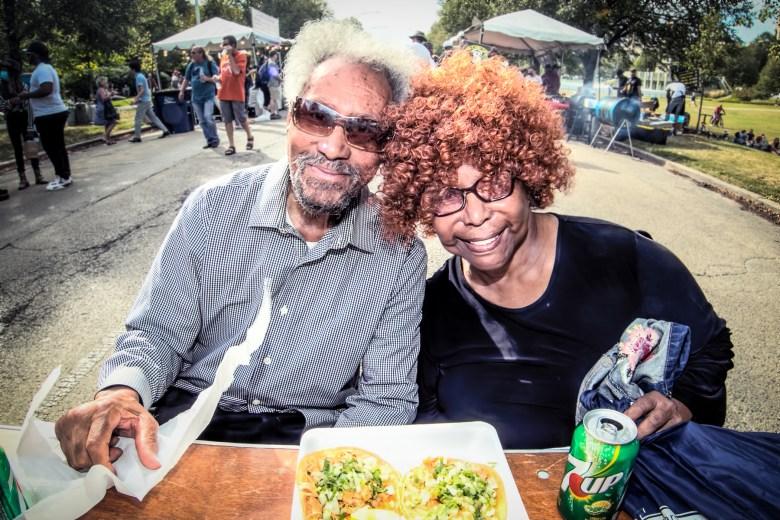 Fans Freddie Macklin and June Nicholas at the Hyde Park Jazz Festival
