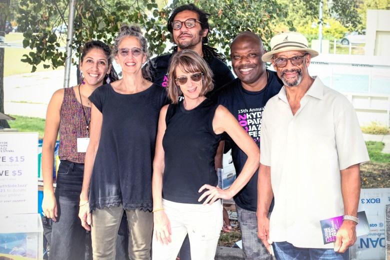 Hyde Park Jazz Festival staffers Sofia del Callejo, Laura Moltz, Brett Sweeney, Kate Dumbleton, Sam Lewis, and Rick Stephenson