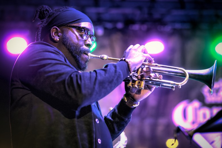 Trumpeter Marquis Hill plays in Makaya McCraven's band at the Hyde Park Jazz Festival.