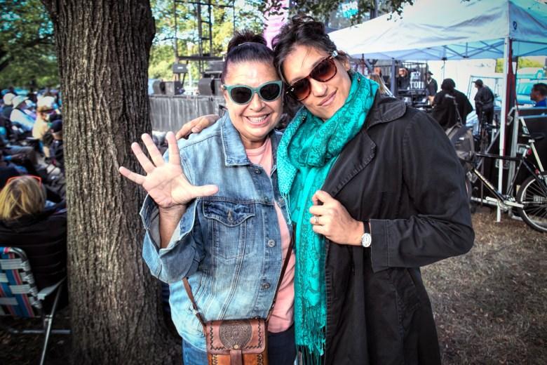 Fans Natasha Boyderman and Sophia Sanchez at the Hyde Park Jazz Festival
