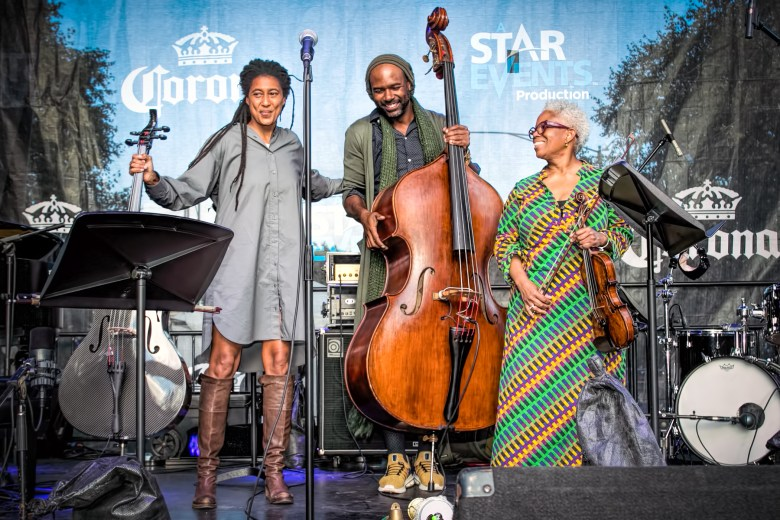 Tomeka Reid, Junius Paul, and Regina Carter of the New String Trio, who played the Wagner Stage on Saturday