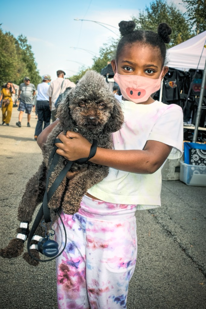 Ocean Lewis and her dog Coco at the Hyde Park Jazz Festival