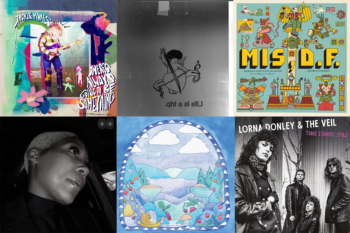 A collage of album covers by Mexican Institute of Sound, Oui Ennui, Lorna Donley & the Veil, Nu-Jaunt, Jackie Hayes, and Tobacco City