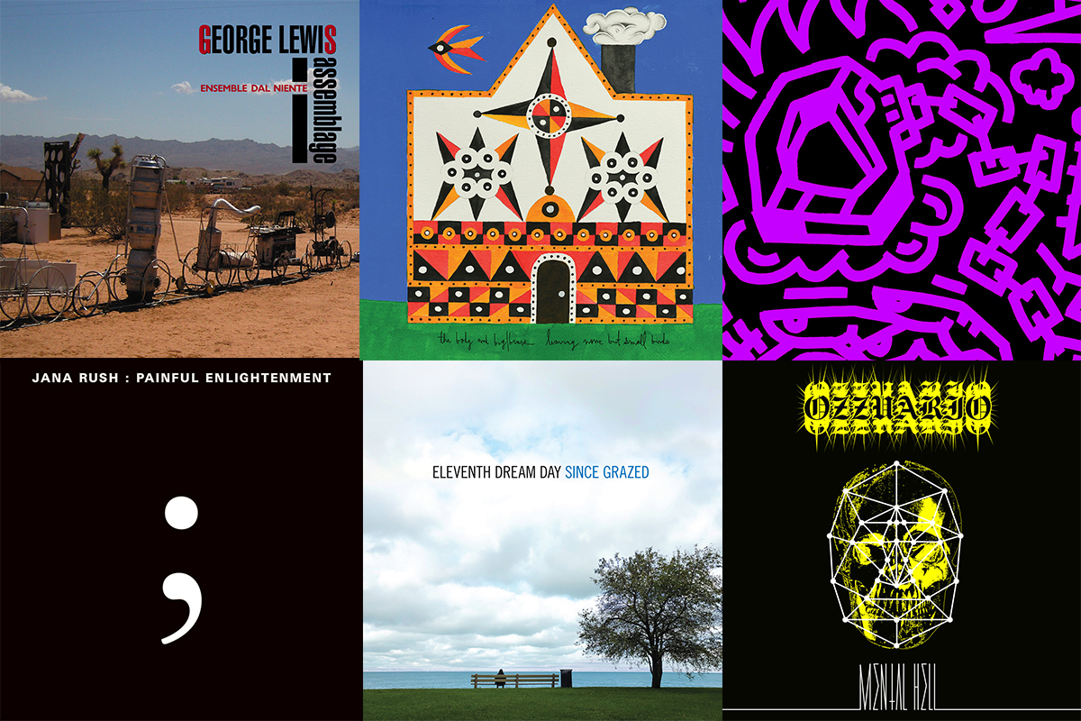 A collage of artwork from Bandcamp releases by George Lewis, the Body & Big|Brave, Slikback, Jana Rush, Eleventh Dream Day, and Ozzuario