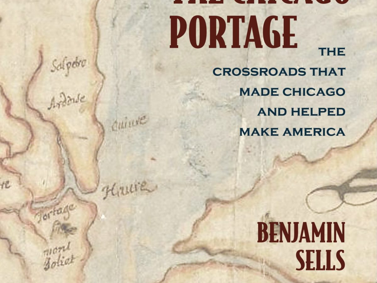 Cover for the book A History of The Chicago Portage; red lettering on an old map