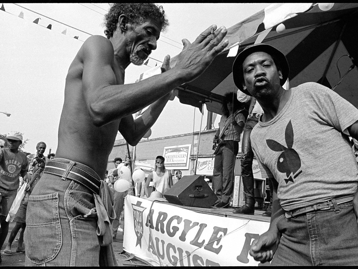 Two vendors at a street festival in Uptown, Chicago, in 1988