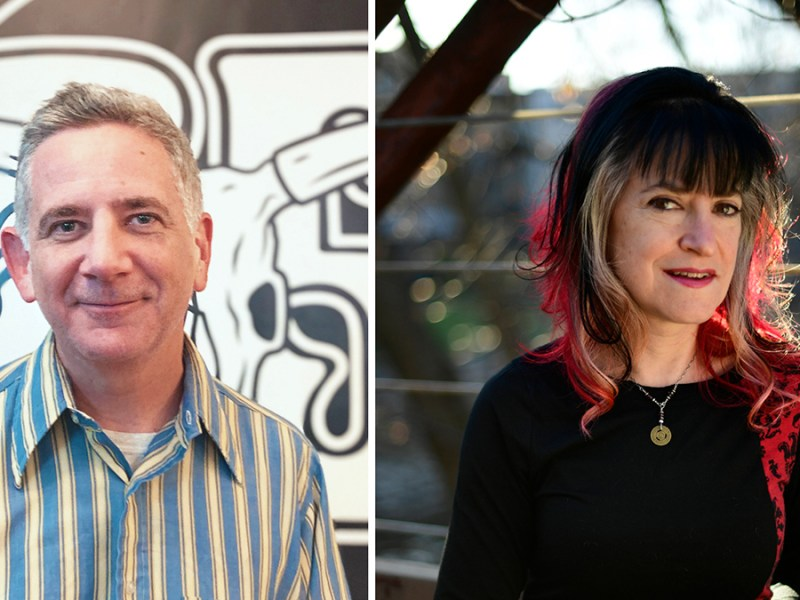 A diptych combining photos of Bloodshot Records cofounders Rob Miller and Nan Warshaw
