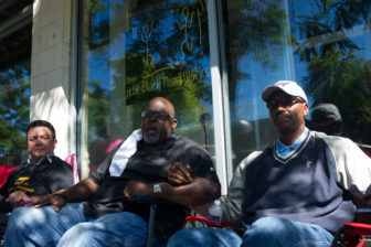 On Monday, the 8th day of the strike, (from left) Nelson Soza, Jitu Brown and the Rev. Robert Jones outside Little Black Pearl Art and Design Academy, which has proposed a competing plan for Dyett.
