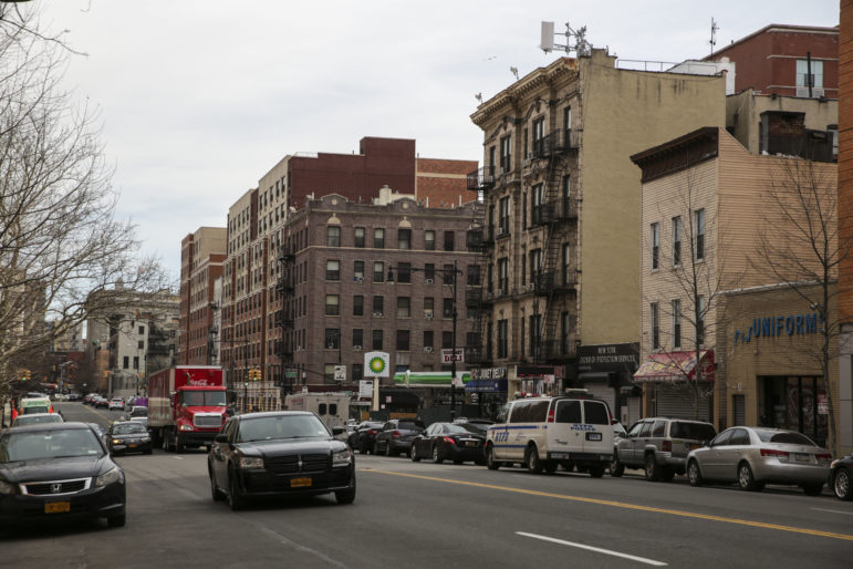 The view looking east down 161st street in the Bronx