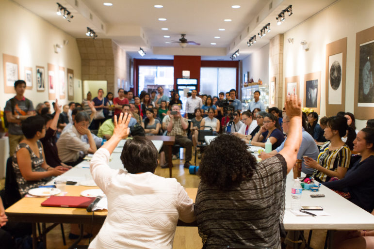 "More than 100 activists and others gathered at Casa Michoacan in Pilsen on June 29, 2016, to discuss a campaign to strengthen protections for undocumented immigrants through Chicago's welcoming city ordinance. Chicago is already one of more than 300 so-called ""sanctuary cities"" for undocumented immigrants."