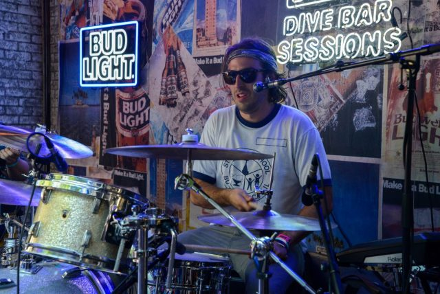 """Returning to Chicago to play Lollapalooza was like a double homecoming for Pat Howard, drummer for the Magic City Hippies. """"Lollapalooza is such a special thing. It was my first unchaperoned music festival,"""" the Buffalo Grove native said. - Brian Shamie   Staff Photographer"""