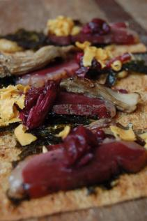 Melissa's rye crisps with mushrooms, duck, and wild boar