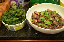 Nick and Shannon's kale chips and feijoada, the national dish of Brazil (various smoked meats mixed with black beans)