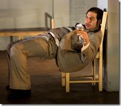Andy Hager as Bridegroom's Friend in the remount of TUTA Theatre's 'The Wedding' by Bertolt Brecht.