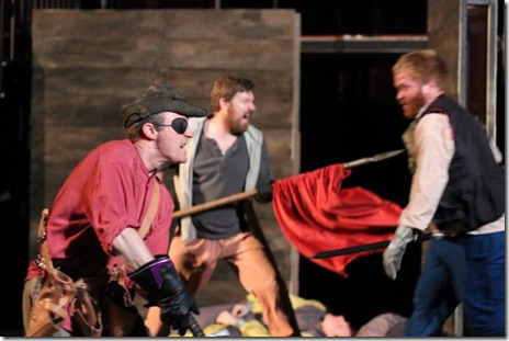 """Aaron Christensen as Pistol, Logan Black as Poins in Oak Park Festival Theatre's summer 2011 production of """"The History of King Henry the Fourth."""" Photo by Johnny Knight."""