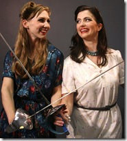 """Gillian N. Humiston as Minnie Sparks and Kimberly Logan as Olivia Wood in Babes With Blades' production of """"The Double,"""" by Barbara Lhota (Photo by Steve Townshend)"""