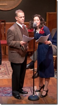 """A scene from American Theater Company's """"It's A Wonderful Life: A Radio Play,"""" directed by Jason W. Gerace."""
