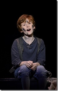 "Michael Seminic as Oliver Twist, in Light Opera Works' ""Oliver!"", directed by Rudy Hogenmiller. (photo credit: Chris Ocken)"