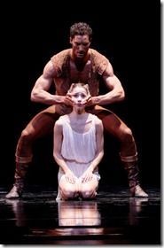 """Fabrice Calmels and April Daly star as Othello and Desdemona in Joffrey Ballet Chicago's """"Othello"""", choreographed by Lar Lubovitch. (photo credit: Herbert Migdoll)"""