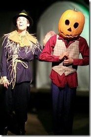 """Matt Huston and Jamal Howard star as Scarecrow and Jack Pumpkinhead in New American Folk Theatre's """"The Marvelous Land of Oz"""", written and directed by Anthony Whitaker."""