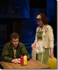 """Matt Holzfeind and Molly Glynn star in Chicago Dramatists' """"Homecoming 1972"""" by Robert Koon, directed by Kimberly Senior. (photo credit: Jeff Pines)"""