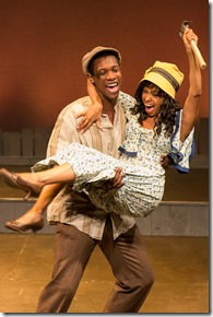 """Evan Martin and Ninah Snipes star in Mercury Theater's """"The Color Purple"""" by Brenda Russell, Allee Willis, Steven Bray and Marsha Norman; directed by L. Walter Stearns. (photo credit: Brett Beiner)"""