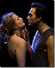 """Shawna Tucker (Cleopatra) and Drew Mierzejewski (Octavius) in Skyline Stageworks' """"Antony and Cleopatra: UNDONE"""", adapted by Patricia Henritze and Shawna Tucker, directed by John Arthur Lewis. (photo credit: Claire Monson)"""