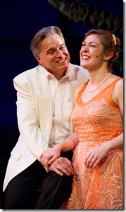 "Larry Adams and Sarah Larson star in Light Opera Works' ""South Pacific"" by Rodgers and Hammerstein, directed by Rudy Hogenmiller. (photo credit: Mona Luan)"