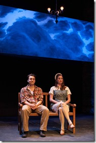 """Mike Tepeli and Amanda Drinkall star in Haven Theatre's """"Last Train to Nibroc"""" by Arlene Hutton, directed by Jason Gerace. (photo credit: Austin D. Oie)"""