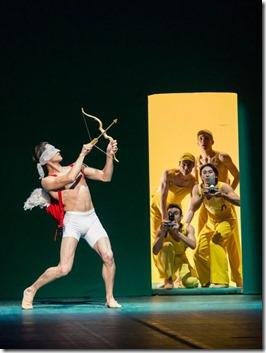 "Temur Suluashvili, Elivelton Tomazi, Raul Casasola, Stephen Goncalvez and Hansol Jeong in Joffrey Ballet Chicago's ""Sylvia,"" choreographed by John Neumeier, music by Léo Delibes. (photo credit: Cheryl Mann)"