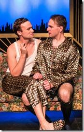 "Kevin Webb and Matthew Gall in Pride Films and Plays' ""Design for Living"" by Noel Coward, directed by Derek Bertelsen. (photo credit: Paul Goyette)"