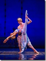 """Dara Holmes and Temur Suluashvili in Joffrey Ballet's """"The Nutcracker,"""" conceived and directed by Robert Joffrey. (photo credit: Cheryl Mann)"""